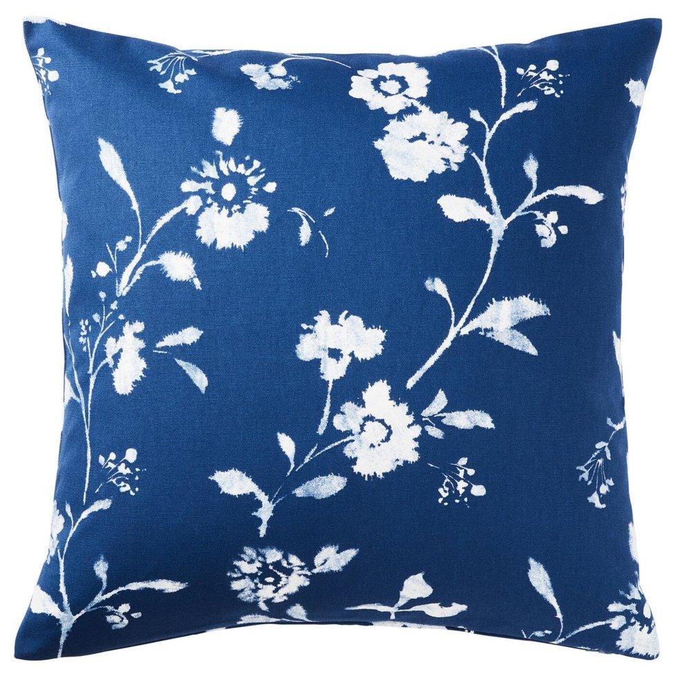 BLÅGRAN БЛОГРАН, Чохол для подушки, синій, білий50x50 см
