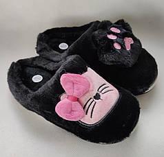 Детские тапочки тапки теплые комнатные для дома девочки домашние черные котики 32/33р 20.5-21см