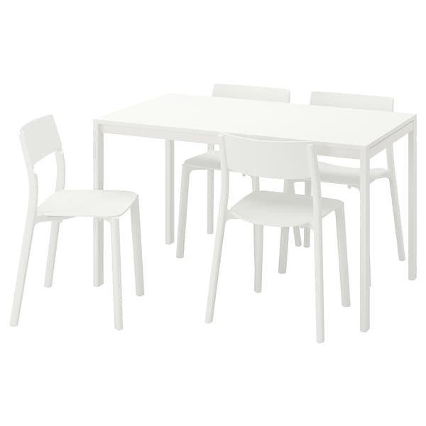 MELLTORP МЕЛЬТОРП / JANINGE ЯНІНГЕ, Стіл+4 стільці, білий, білий125 см