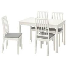 EKEDALEN ЕКЕДАЛЕН / EKEDALEN ЕКЕДАЛЕН, Стіл+4 стільці, білий, ОРРСТА світло-сірий120/180 см