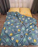 Комплект евро постельного белья бязь с цветами синее