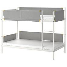 VITVAL ВІТВАЛЬ, Каркас 2-ярусний ліжка, білий, світло-сірий90х200 см