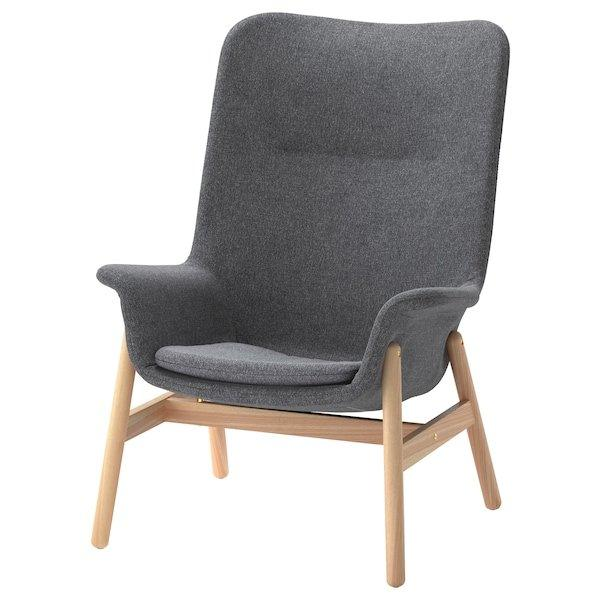 VEDBO ВЕДБУ, Крісло із високою спинкою, ГУННАРЕД темно-сірий
