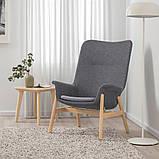VEDBO ВЕДБУ, Крісло із високою спинкою, ГУННАРЕД темно-сірий, фото 2
