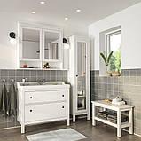HEMNES ХЕМНЕС / RÄTTVIKEN РЕТТВІКЕН, Меблі для ванної кімнати, набір 5шт, білий, RUNSKÄR РУНШЕР змішувач102 см, фото 2