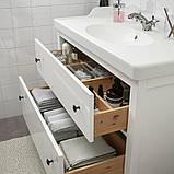 HEMNES ХЕМНЕС / RÄTTVIKEN РЕТТВІКЕН, Меблі для ванної кімнати, набір 5шт, білий, RUNSKÄR РУНШЕР змішувач102 см, фото 3