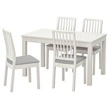 LANEBERG ЛАНЕБЕРГ / EKEDALEN ЕКЕДАЛЕН, Стіл+4 стільці, білий, білий світло-сірий130/190x80 см