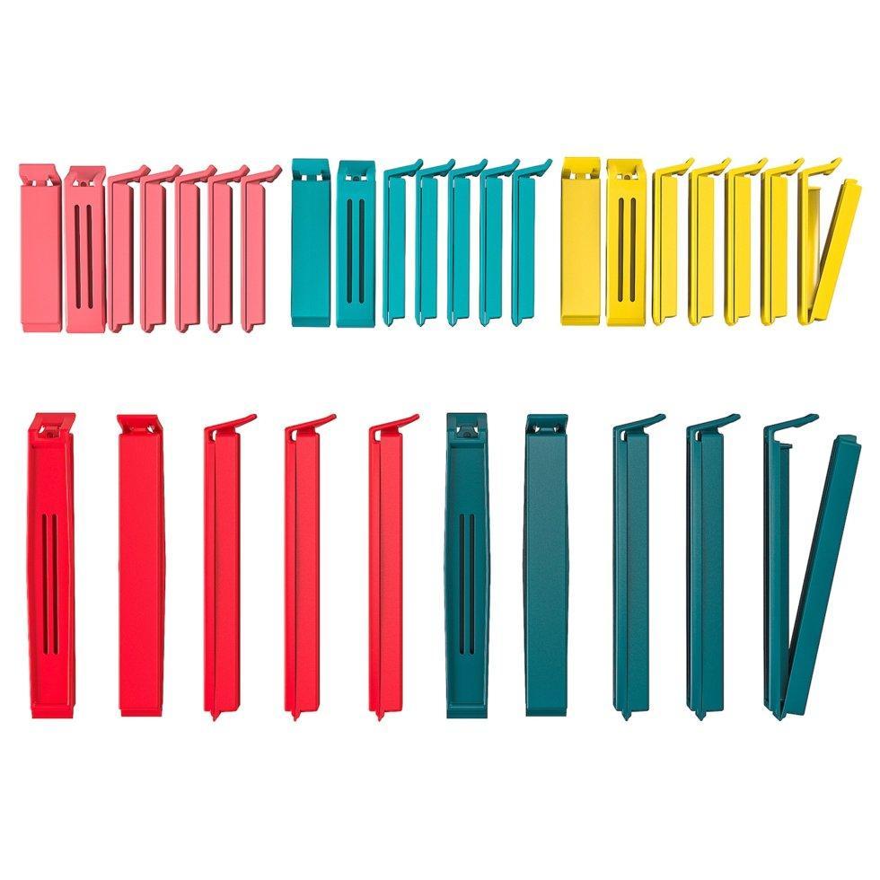 BEVARA БЕВАРА, Затискач для пакетів, 30 шт, різні кольори, різні розміри