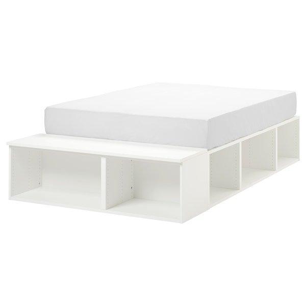 PLATSA ПЛАТСА, Каркас ліжка з відділ д/зберігання, білий140x200 см