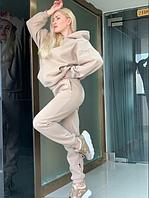 Тёплый костюм в стиле оверсайз 4 цвета. Турецкая трехнитка на флисе.Размеры от 42 до 50., фото 1