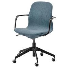 LÅNGFJÄLL ЛОНГФЬЄЛЛЬ, Офісний стілець з підлокітником, ГУННАРЕД синій, чорний