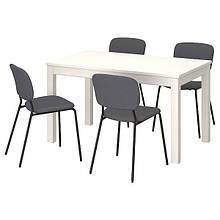 LANEBERG ЛАНЕБЕРГ / KARLJAN КАРЛЙАН, Стіл+4 стільці, білий, темно-сірий темно-сірий130/190x80 см