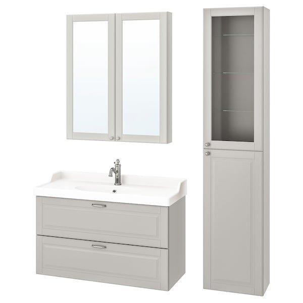 GODMORGON ГОДМОРГОН / RÄTTVIKEN РЕТТВІКЕН, Меблі для ванної кімнати, набір 5шт, КАШЕН світло-сірий, HAMNSKÄR