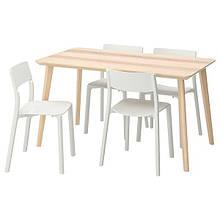 LISABO ЛІСАБО / JANINGE ЯНІНГЕ, Стіл+4 стільці, ясеневий шпон, білий140x78 см