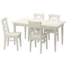 INGATORP ІНГАТОРП / INGOLF ІНГОЛЬФ, Стіл+4 стільці, білий155 см