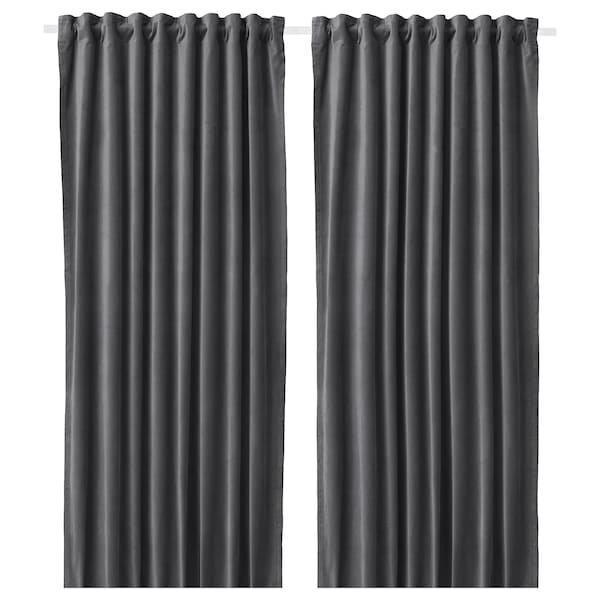 SANELA САНЕЛА, Світлонепроникні штори, пара, темно-сірий140x300 см