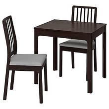 EKEDALEN ЕКЕДАЛЕН / EKEDALEN ЕКЕДАЛЕН, Стіл+2 стільці, темно-коричневий, ОРРСТА світло-сірий80/120 см