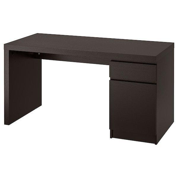 MALM МАЛЬМ, Письмовий стіл, чорно-коричневий140x65 см