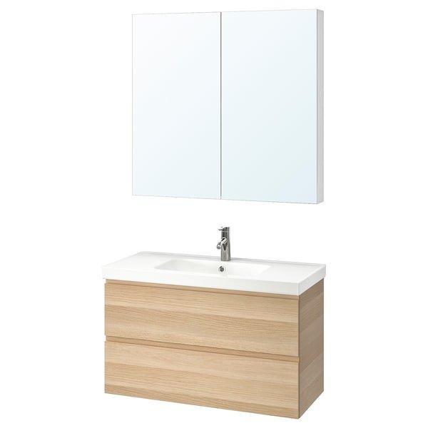 GODMORGON ГОДМОРГОН / ODENSVIK ОДЕНСВІК, Меблі для ванної кімнати, набір 4шт, під білений дуб, DALSKÄR ДАЛШЕР