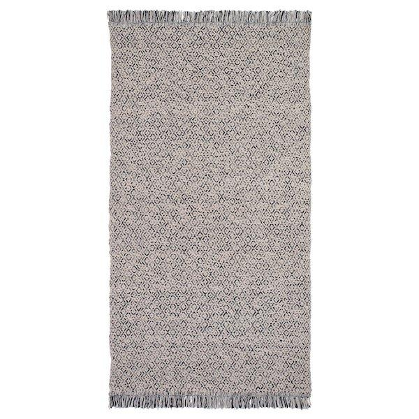 RÖRKÄR РЕРКЕР, Килим, пласке плетіння, чорний, натуральний80x150 см