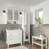 HEMNES ХЕМНЕС / RÄTTVIKEN РЕТТВІКЕН, Меблі для ванної кімнати, набір 5шт, білий, RUNSKÄR РУНШЕР змішувач82 см, фото 2