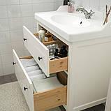 HEMNES ХЕМНЕС / RÄTTVIKEN РЕТТВІКЕН, Меблі для ванної кімнати, набір 5шт, білий, RUNSKÄR РУНШЕР змішувач82 см, фото 3