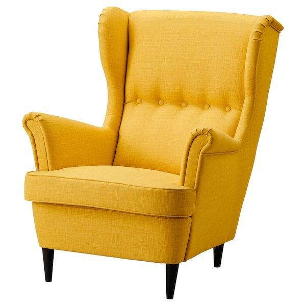 STRANDMON СТРАНДМОН, Крісло з підголівником, СКІФТЕБУ жовтий