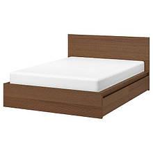 MALM МАЛЬМ, Каркас ліжка, високий, 2 крб д/збер, коричнева морилка ясеневий шпон, ЛУРОЙ140х200 см