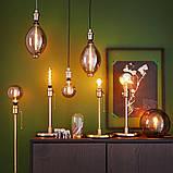 ROLLSBO РОЛЛЬСБУ, LED лампа E27 200 лм, регулювання яскравості в формі кулі, сіре скло180 мм, фото 4