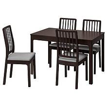 EKEDALEN ЕКЕДАЛЕН / EKEDALEN ЕКЕДАЛЕН, Стіл+4 стільці, темно-коричневий, ОРРСТА світло-сірий120/180 см