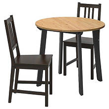 GAMLARED ГАМЛАРЕД / STEFAN СТЕФАН, Стіл+2 стільці, світла морилка антик, коричнево-чорний85 см