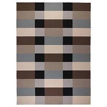 STOCKHOLM СТОКГОЛЬМ, Килим, пласке плетіння, ручна робота, картатий коричневий250х350 см