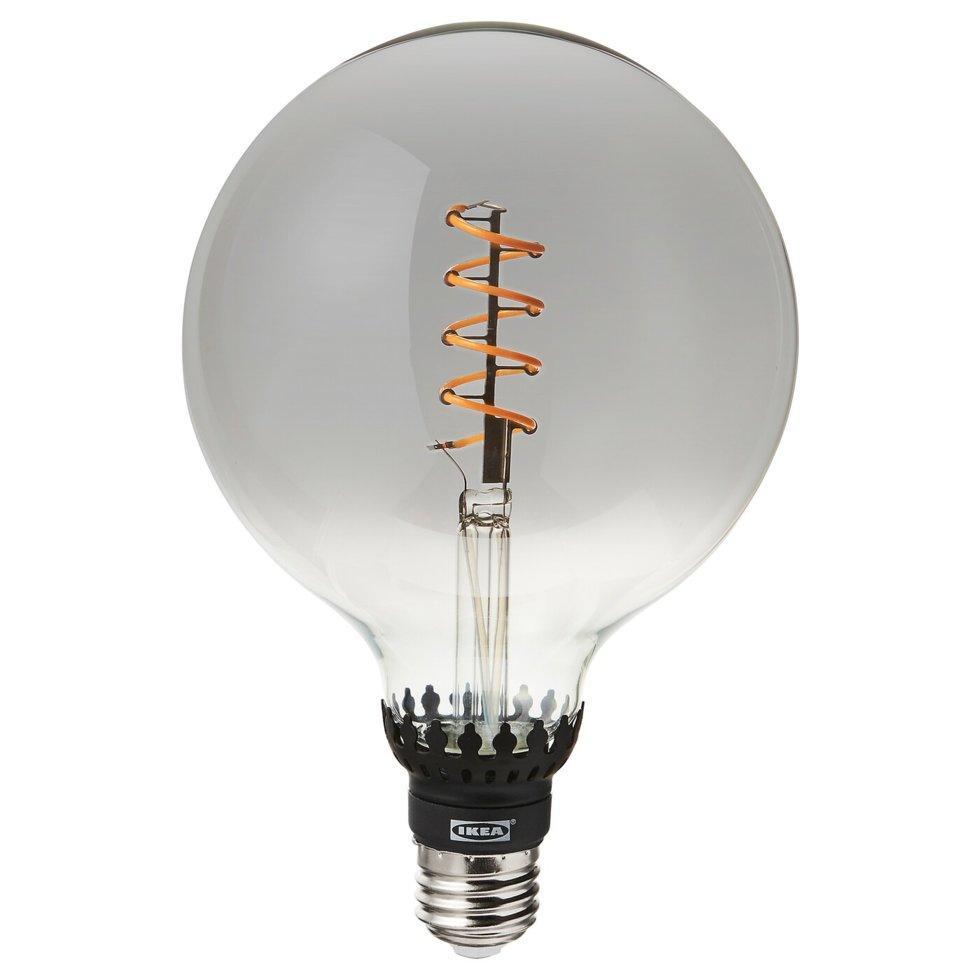 ROLLSBO РОЛЛЬСБУ, LED лампа E27 200 лм, регулювання яскравості, круглий сірий прозоре скло125 мм