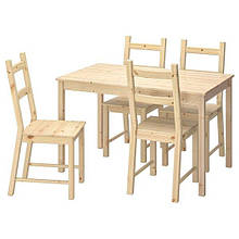 INGO ІНГО / IVAR ІВАР, Стіл+4 стільці, сосна120 см