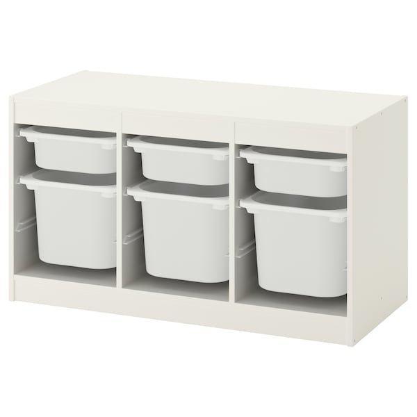 TROFAST ТРУФАСТ, Комбінація для зберіган +контейнери, білий, білий99x44x56 см