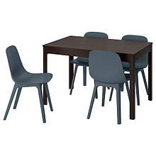 EKEDALEN ЕКЕДАЛЕН / ODGER ОДГЕР, Стіл+4 стільці, темно-коричневий, синій120/180 см