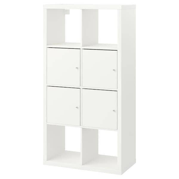 KALLAX КАЛЛАКС, Стелаж із дверцятами, білий77x147 см