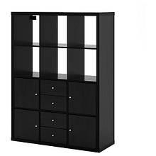 KALLAX КАЛЛАКС, Стелаж, 6 вставок, чорно-коричневий112x147 см