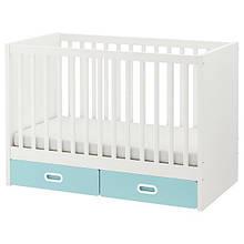 STUVA СТУВА / FRITIDS ФРІТІДС, Дитяче ліжко з шухлядами, світло-синій60х120 см