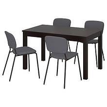 LANEBERG ЛАНЕБЕРГ / KARLJAN КАРЛЙАН, Стіл+4 стільці, коричневий, темно-сірий темно-сірий130/190x80 см