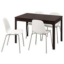 EKEDALEN ЕКЕДАЛЕН / LEIFARNE ЛЕЙФАРНЕ, Стіл+4 стільці, темно-коричневий, білий120/180 см