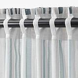 PRAKTKLOCKA ПРАКТКЛОККА, Штори, 1 пара, сірий, смугастий145x300 см, фото 4