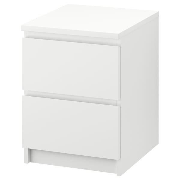 MALM МАЛЬМ, Комод із 2 шухлядами, білий40x55 см