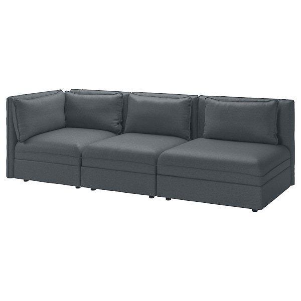 VALLENTUNA ВАЛЛЕНТУНА, 3-місний модульний диван-ліжко, з вікритою секцією, ХІЛЛАРЕД темно-сірий