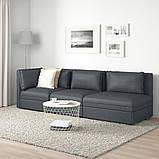 VALLENTUNA ВАЛЛЕНТУНА, 3-місний модульний диван-ліжко, з вікритою секцією, ХІЛЛАРЕД темно-сірий, фото 2