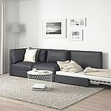 VALLENTUNA ВАЛЛЕНТУНА, 3-місний модульний диван-ліжко, з вікритою секцією, ХІЛЛАРЕД темно-сірий, фото 3