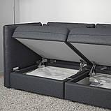VALLENTUNA ВАЛЛЕНТУНА, 3-місний модульний диван-ліжко, з вікритою секцією, ХІЛЛАРЕД темно-сірий, фото 5