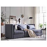 VALLENTUNA ВАЛЛЕНТУНА, 3-місний модульний диван-ліжко, з вікритою секцією, ХІЛЛАРЕД темно-сірий, фото 7
