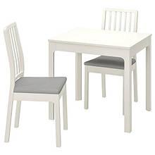 EKEDALEN ЕКЕДАЛЕН / EKEDALEN ЕКЕДАЛЕН, Стіл+2 стільці, білий, ОРРСТА світло-сірий80/120 см
