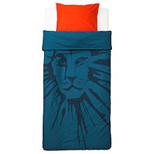 URSKOG УРСКОГ, Підковдра+1 наволочка, лев, темно-синій150x200/50x60 см